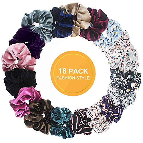 Airbee 18-Pcs Hair Scrunchies Velvet Elastic Hair Bands Scrunchy Hair Ties Ropes Scrunchie for Women or Girls Hair Accessories - 18 Pcs With 3-Style.