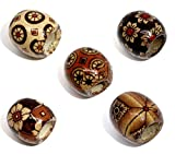 Housweety 100 Mixed Painted Drum Wood Spacer Beads 17x16mm (style 1-100pcs)