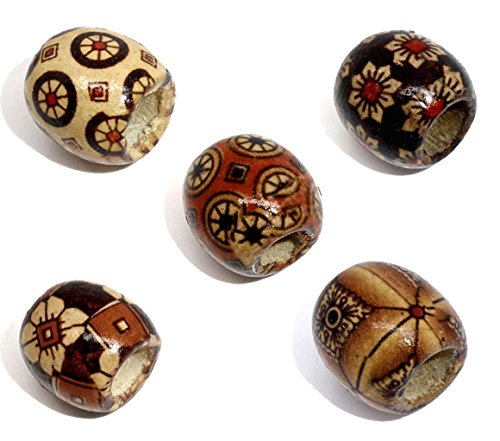 HOUSWEETY 100 Mixed Painted Drum Wood Spacer Beads 17x16mm HOUSWEETYB07158-F