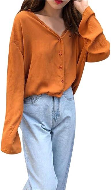 Rcool Camiseta Camisetas Tops y Blusas Camisetas Mujer Manga Corta Camisetas Deporte Mujer Camisetas Mujer, Camisa de Manga Larga con Cuello en V Suelta de Gran tamaño: Amazon.es: Ropa y accesorios