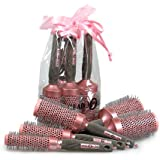 Head Jog 5 Piece Professional Ionic + Ceramic Pink Radial Hair Brush Gift Set by Head Jog Brushes