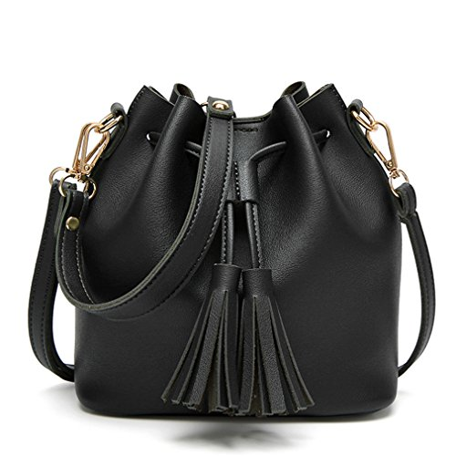 Bucket Bag With Tassel Pendant Women PU Leather Shoulder Bags Female Handbags Mini Crossbody Messenger Tote Black One - Luxe Mini Pendant