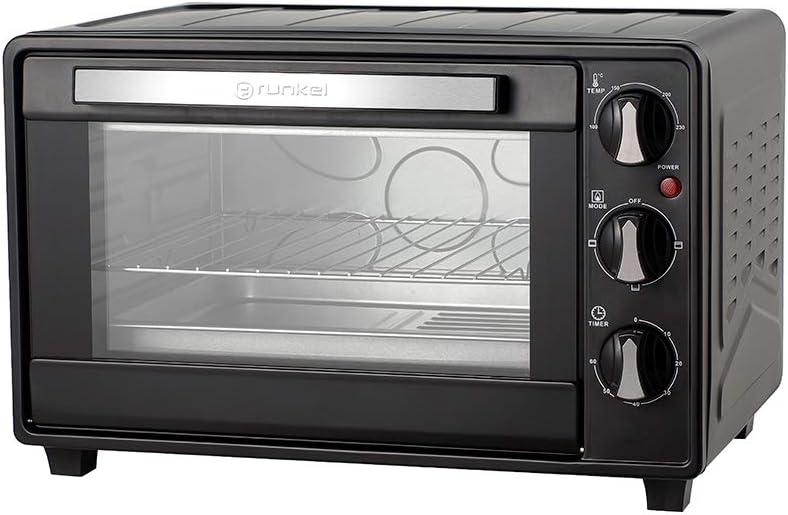 Grunkel - Horno eléctrico multifunción de sobremesa de 23 litros en color negro con 1600W de potencia. Ideal para pizzas y pan. Modelo HR-23 HN