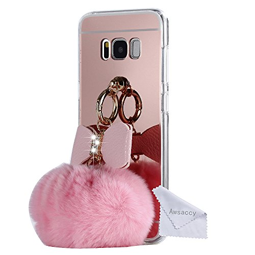 Mirror Ball Galaxy S8 Plus Case for Women, Awsaccy(TM) Cute 3D Bunny Bling Fur Fluffy Pom Pom Keychain Furry PC TPU Phone Case Thin Fit Design Back Cover With Mirror for Samsung Galaxy S8 Plus, Pink