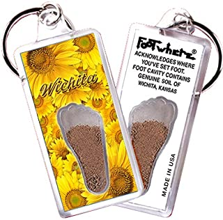 "product image for Wichita, KS ""FootWhere"" Souvenir Keychain. Made in USA (WCT104 - Sunflowers)"