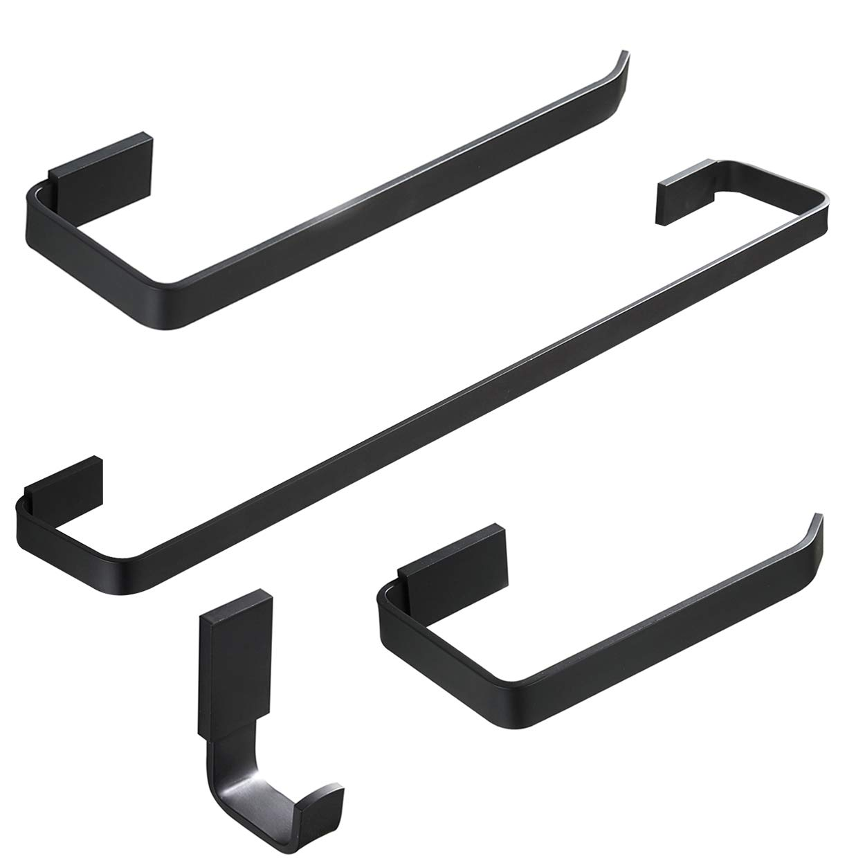 Keybath Bathroom Accessories 4-Piece Hardware Set Matte Black Towel Bar Toiler Paper Holder Towel Ring Towel Hook Brass Wall Mounted for Bathroom Kitchen