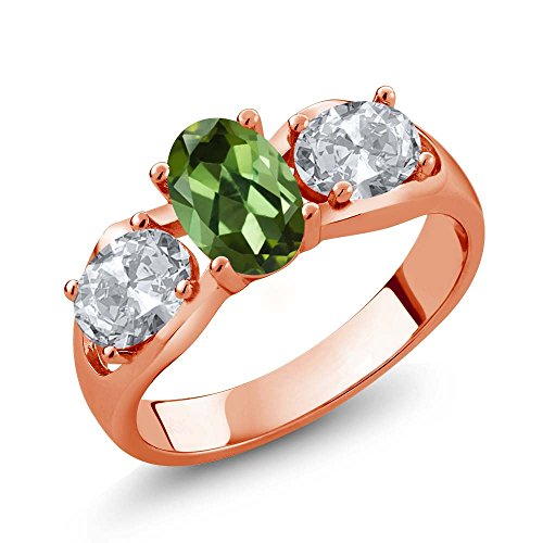 - Gem Stone King 1.70 Ct Oval Green Tourmaline White Topaz 18K Rose Gold Plated Silver Ring (Size 8)