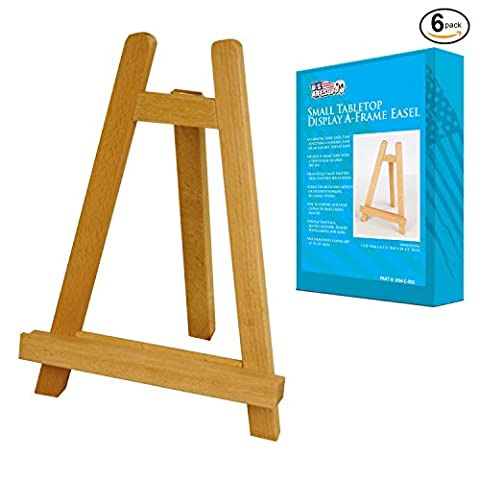 US Art Supply Small 10-1/2 inch Tabletop Display A-Frame Artist Easel (6-Easels) - Wood Tripod Stand