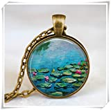 Claude monet water lilies necklace ,water lilies blue pond pendant , monet art pendant, monet jewelry,Impressionist jewelry