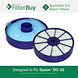 2 - Dyson DC33 (DC-33) Pre Motor Washable & Reusable Filters, Part # 919563-01. Designed by FilterBuy to fit Dyson DC-33 Multi Floor Upright Vacuums