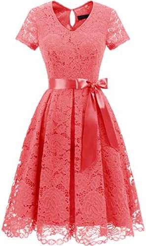 0748d8c0ec6a DRESSTELLS Women's Elegant Bridesmaid Dress Floral Lace Dresses With Short  Sleeves
