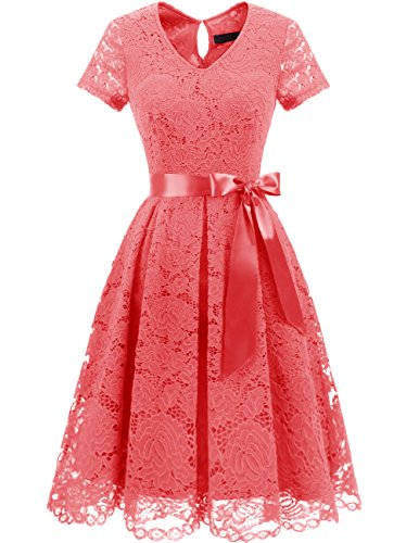 79fc48f32ef DRESSTELLS Women s Elegant Bridesmaid Dress Floral Lace Dresses with Short Sleeves  Coral XL
