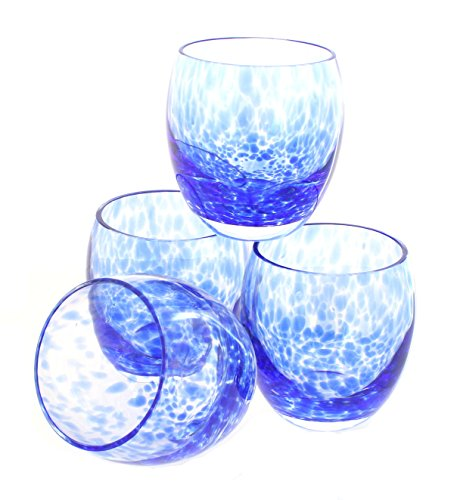 Blue Rose Polish Pottery Cobalt Confetti Juice Glass Set from Blue Rose Pottery
