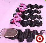 Junhair 4Pcs/lot Virgin Mongolian Remy Human Hair 3 Bundles Hair Weaves Mixed Length With 1Pc 4x4 Closure Body Wave Natural Color