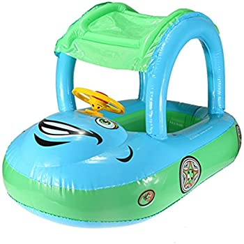 Inflatable Baby Float Seat Boat Tube Ring Car Sun Shade Swim Swimming Pool Water