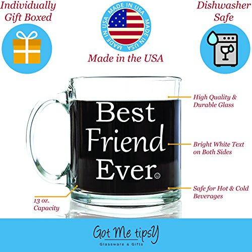Best Friend Ever Glass Coffee Mug 13 Oz