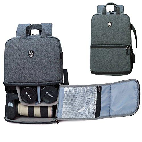 Abonnyc Oxford DSLR Camera Backpack Bag Case Oxford Hiking Laptop Bag (Black)