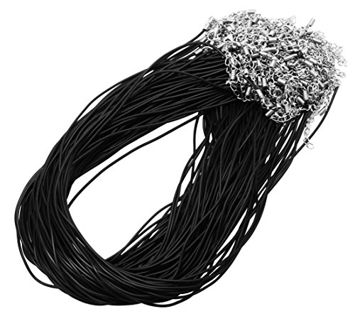 Mandala Crafts Bulk 100 DIY Jewelry Making Rubber Cord Necklace Chains with Clasps for Pendants (Black) (Necklace Pendant Rubber Cord)