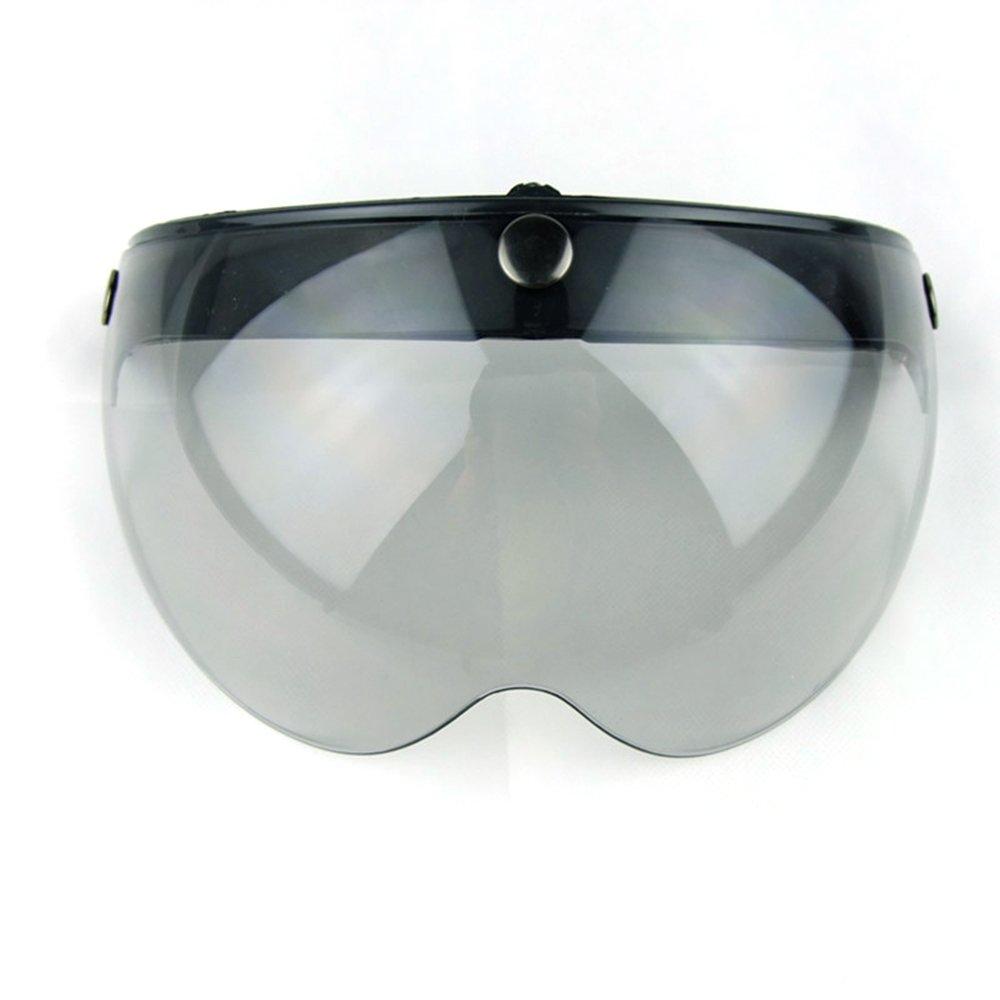 Motorcycle Retro Pilot-Style Open Face Helmet Wind Shield 3 Snap-Button Visor Flip Up Down(Light Smoke)