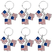 Juvale American Flag Keychain - 6-Pack Patriotic US Key Rings, Souvenir Gifts Flag Day, Labor Day Veterans' Day Festivities, 3.2 x 1.2 inches