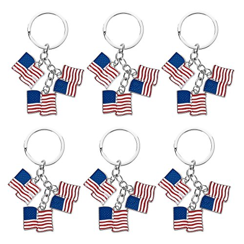 Flag Key Ring - Juvale American Flag Keychain - 6-Pack Patriotic US Key Rings, Souvenir Gifts Flag Day, Labor Day Veterans' Day Festivities, 3.2 x 1.2 inches