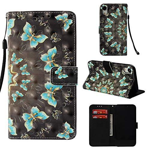 iPhone XR Case, UZER 3D Series Premium PU Leather Shockproof Kick Stand Function Flip Wallet Case with Card Holder ID Slot Money Pocket Durable Magnetic Book Case for iPhone XR ()