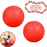 Bojafa Puppy Small Medium Large Dog Toys Balls Solid (!Lifetime Replacement Guarantee! 2 Pack) Rubber Indestructible Durable Tough Dog Chew Toys Gift for Aggressive Chewers