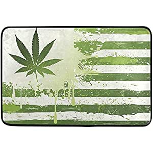 Amazon Com Cannabis Texture Marijuana Leaf Flag Non Slip