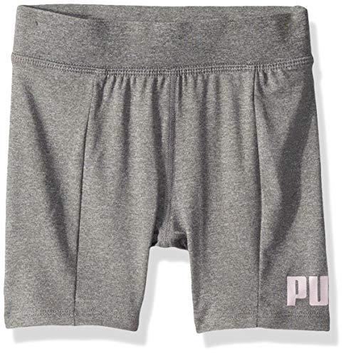 PUMA Little Girls' Bike Shorts, Light Heather Grey Small (4)
