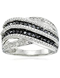 Sterling Silver Black and White Diamond (1/2cttw) Twisted Ring