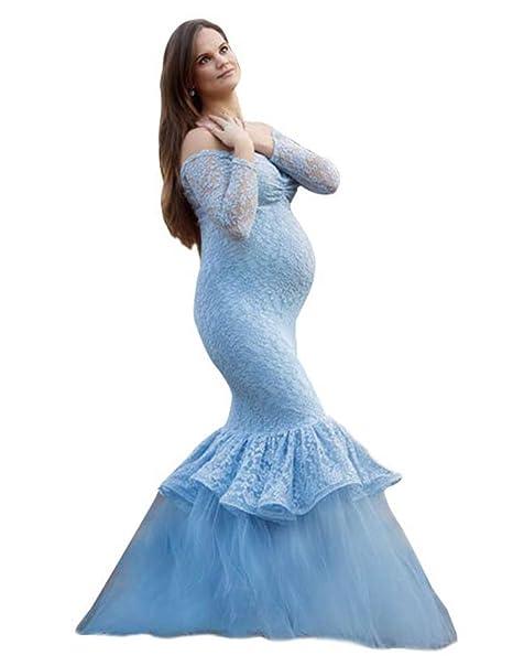 NiSeng Mujeres Manga Larga Sin Tirantes Vestido Accesorios De Fotografía Embarazadas Vestido Largo Embarazadas Fotografía Props