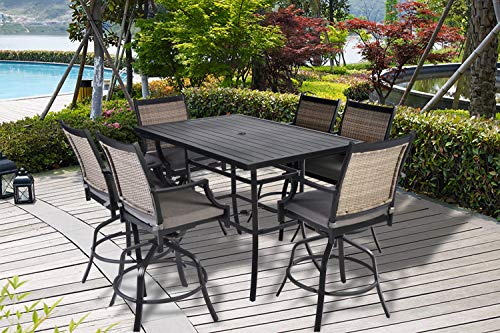 (Pebble Lane Living All Weather Rust Proof Indoor/Outdoor 7pc Powder Coated Aluminum Patio Bar Dining Set, 1 Slat Top Bar Table & 6 Swivel Wicker Bar Arm Stools with All)