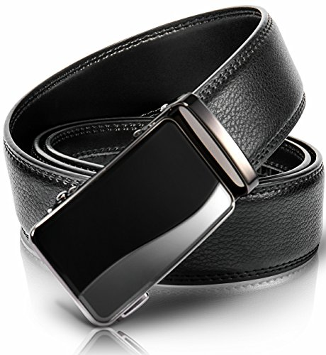 Mens Belts Big and Tall,Black Holeless Ajustable Leather Click Belt (Adjustable from 28-38 Waist Size, Black buckle(Black & Ash))