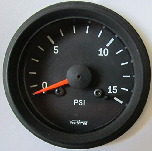 Veethree 160832 Boost Gauge 15PSI (B/B) with Tubing Kit:
