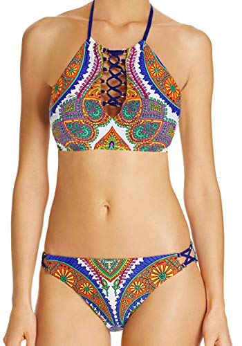 Trina Turk 2 Piece Bikini Set - High Neck Lace Up Gold Hardware Jeweled Printed Pacific Paisley Top & Hipster Bottom 4