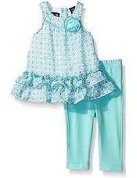 Baby Girls' Printed Chiffon Tunic and Blue Jersey Spandex Leggings