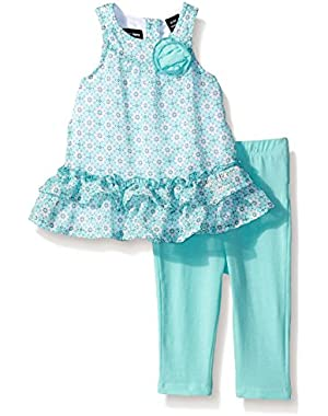 Baby Girls' Printed Chiffon Tunic and Blue Jersey Spandex Leggings