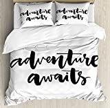 Ambesonne Adventure Duvet Cover Set Queen Size, Inspirational Quote About Life and Travel Adventure Never Stops Journey Theme, Decorative 3 Piece Bedding Set with 2 Pillow Shams, Black Wihte