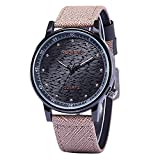 Women'S Purple Watches Fashion Big Black Face Leather Band Dress Watch Popular Unique Unisex Watch