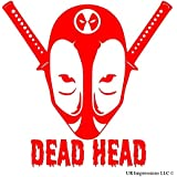 UR Impressions Red Deadpool Dead Head Decal Vinyl Sticker Cars Trucks SUV Vans Walls Windows Laptop|RED|5.5 X 5.4 Inch|URI346