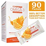 Coromega Omega 3 Fish Oil Supplement, 650mg of Omega-3s with 3X Better Absorption Than Softgels, Orange Flavor, 90 Single Serve Squeeze Packets