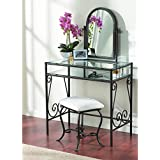 Amazon Com Black Metal Bedroom Vanity With Glass Table Amp Bench Set Glassware Amp Drinkware