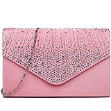 Miss Lulu Ladies Diamante Clutch Evening Bridal Wedding Bag Handbag (Pink)
