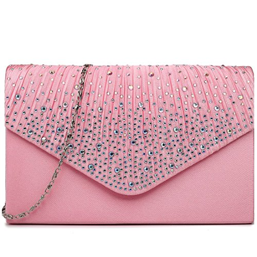 Miss Bag Evening Bridal Diamante Lulu Handbag Clutch Pink Wedding Ladies wUxwRZa