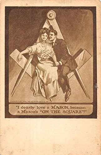Freemason Couple On Symbol Square Old Fasioned Masonic Antique Postcard K17692