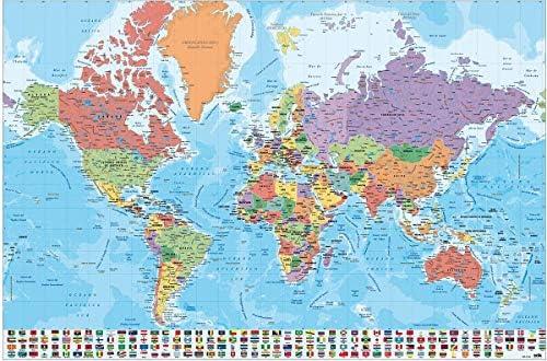 Close Up Póster Mapa del Mundo con Banderas y Leyenda - Versión en Español (91,5cm x 61cm) + 2 Marcos Transparentes con suspención: Amazon.es: Hogar