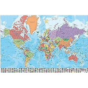 Close Up Póster Mapa del Mundo con Banderas y Leyenda – Versión en Español (91,5cm x 61cm) + 2 Marcos Transparentes con suspención
