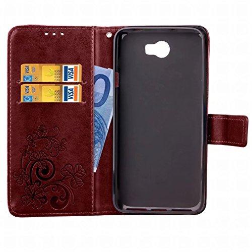 Yiizy Huawei Y5 II / Honor 5 / Honor 5 Play Custodia Cover, Tre Foglia Erba Design Sottile Flip Portafoglio PU Pelle Cuoio Copertura Shell Case Slot Schede Cavalletto Stile Libro Bumper Protettivo Bor