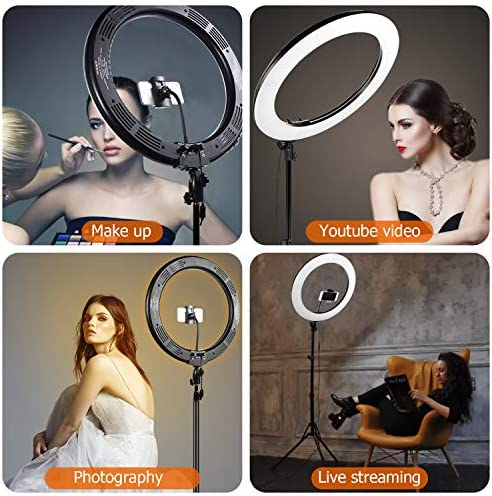 GIM 19 inch Adjustable 48W Ring Light, Bluetooth Wireless Remote Control Upgraded Version Color Temperature 3200K-6500K with Stand, for Video Shooting, Makeup, Vlog, Carrying Bag for Photograp