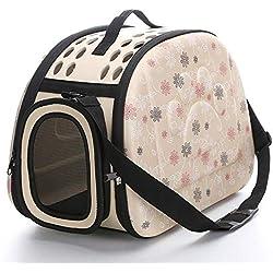 Soft Sided Pet Carrier Foldable EVA Pet Carrier Puppy Dog Cat Outdoor Travel Shoulder Bag for Small Dog Pets Soft Dog Kennel Pet Carrier Bag Pattern 2 M Apricot